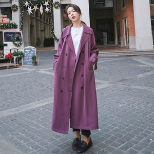 Brand New Fashion Purple Women Trench Coat Long Double Breasted with Belt Spring Autumn Office Lady Duster Coat Loose Cloak