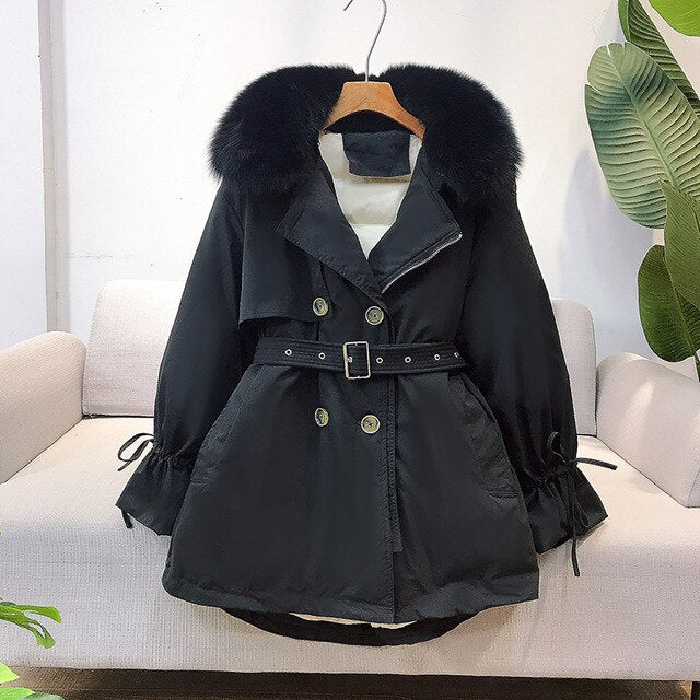 Women Duck Down Jacket Winter Down Coat Natural Fox Fur Collar Designer Brand Female Parkas Detachable Lining Sash Tie Up Coats
