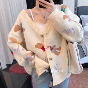 Cartoon Bear Jacquard Sweater Cardigan Korean V-Neck Single Breasted Outwear Preppy Style Oversized Jumpers Autumn Loose X459