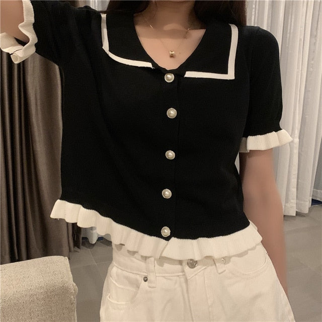 Ruffles Knit Cardigan Shirt Women Single-breasted Patched Ruffles Elastic Crop Sweater Summer Tops Female Cardigans