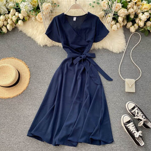 Teeuiear Slim Vintage V Neck Bandage Long Dress Summer Party Women high waist dress Vestido de festa elegant tunic a-line dress