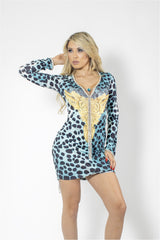 Aisha Blue Animal Print Rhinestones Dress