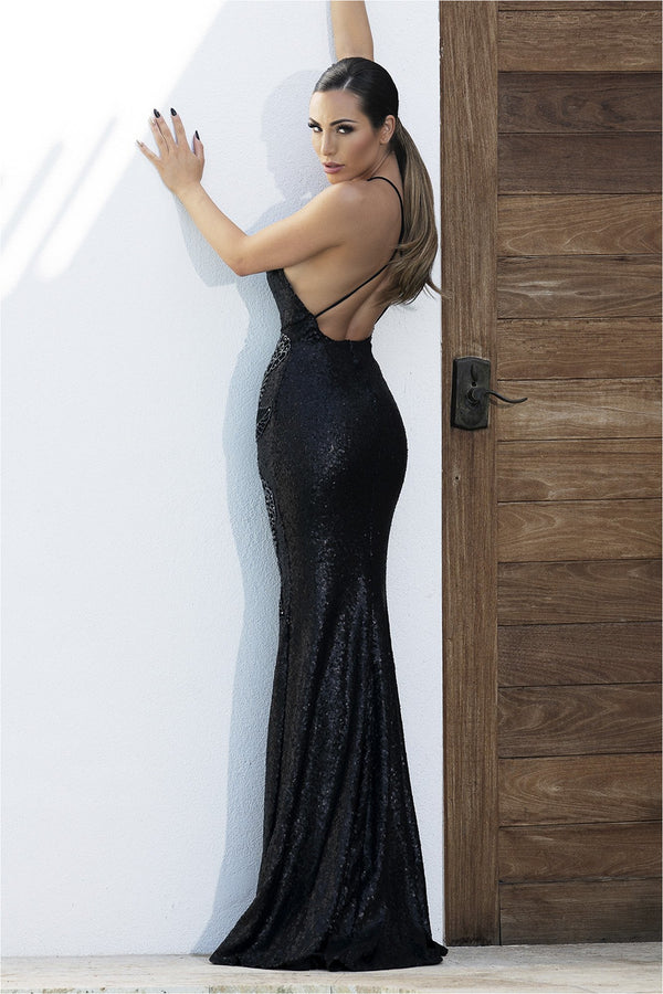 Allison Black Sequins Deep V Neck Gown