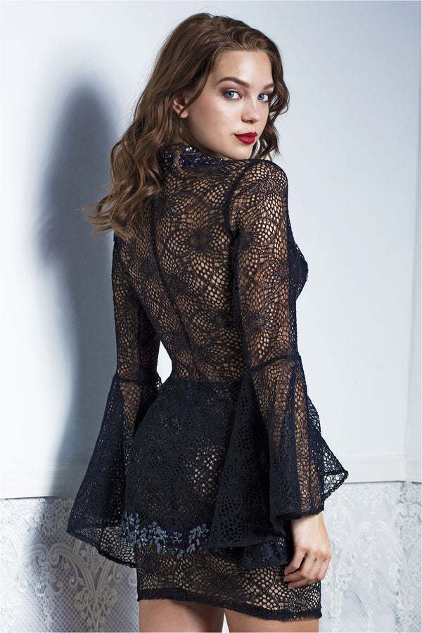 Ambar Black Lace Top and Skirt Set