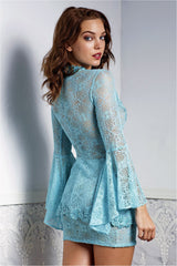 Ambar Turquoise Lace Top and Skirt Set