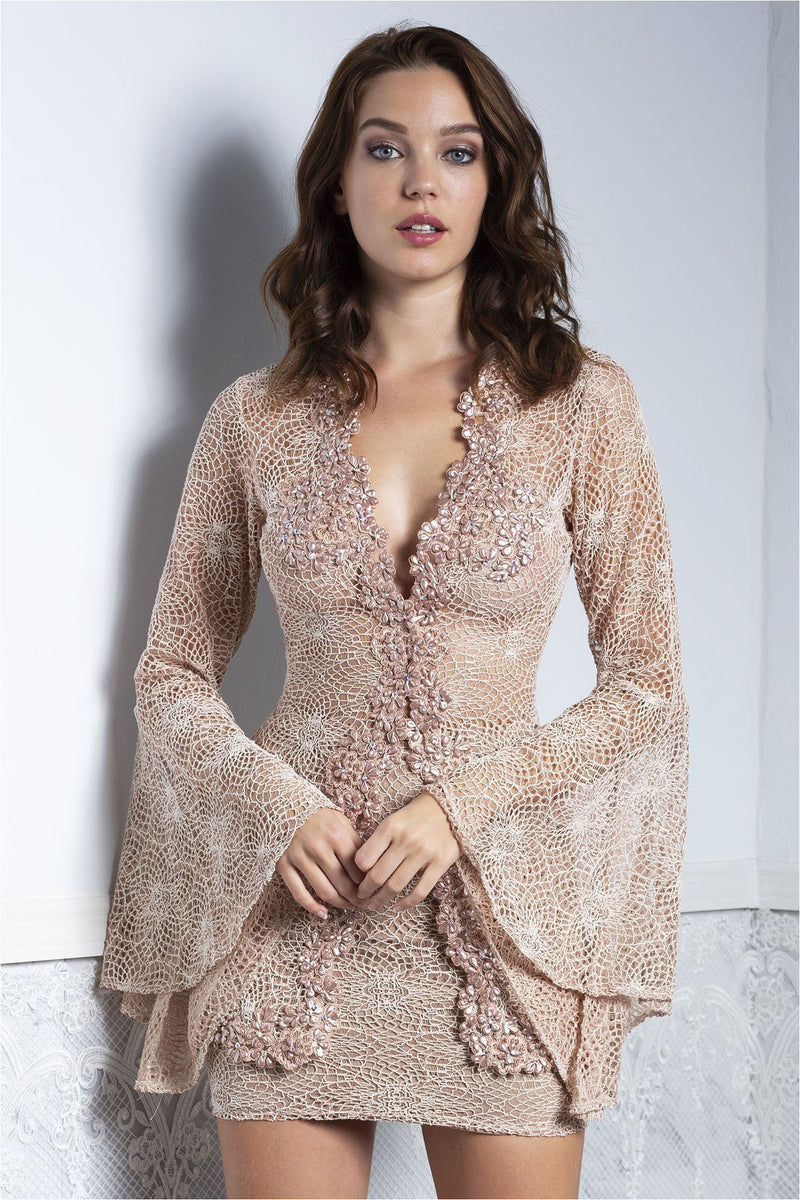 Ambar Nude Lace jacket and Skirt Set