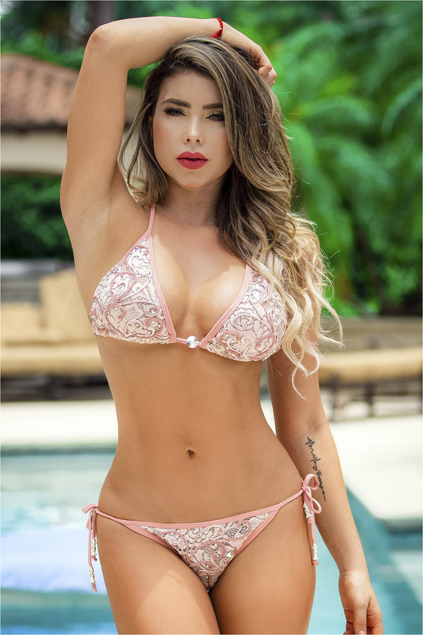 Adriana Pink/White Lace Hand Painted Bikini Set
