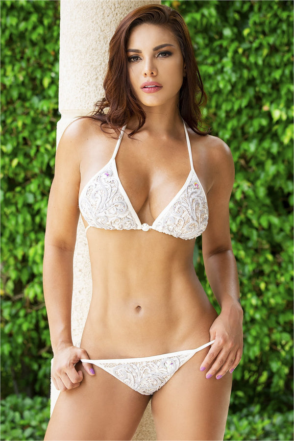 Adriana White/Silver Handpainted Lace Bikini Set