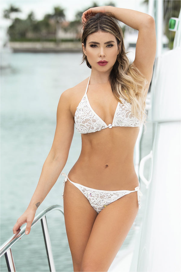 Adriana White/White Handpainted Lace Bikini Set