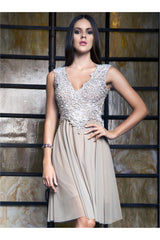Baccio Couture Ariel Silver Handpainted Cap Sleeve Dress