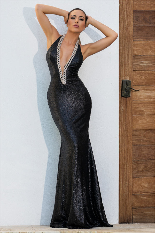 Alba Black Metallic Halter Maxi Gown