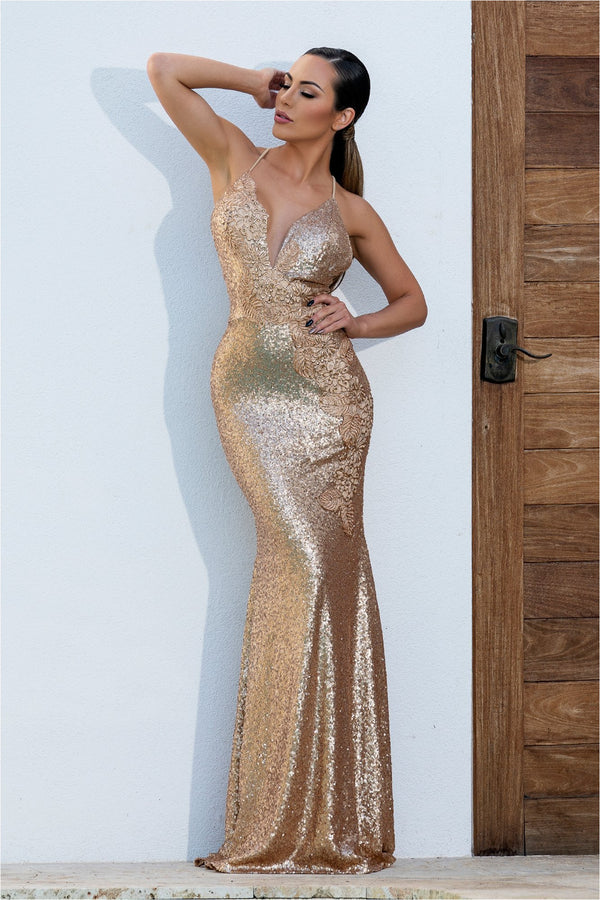 Alison Gold Sequins Halter Strap Long Dress