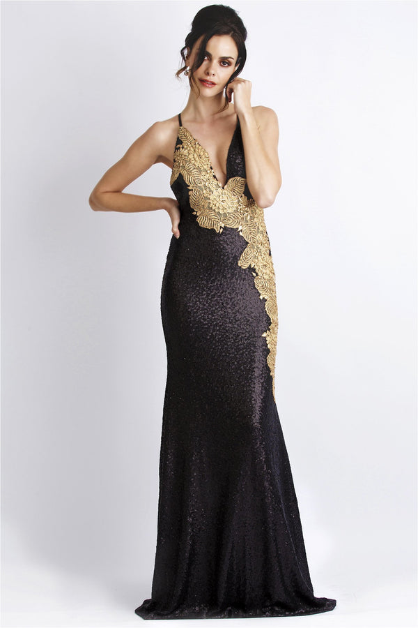 Alison Black and Gold Sequins Sleeveless Gown