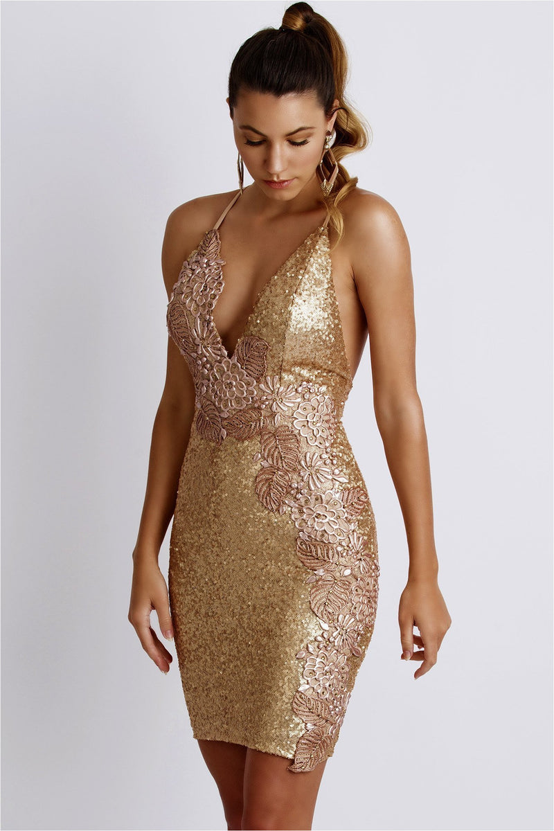 Alison Gold Sequins Plunging Dress