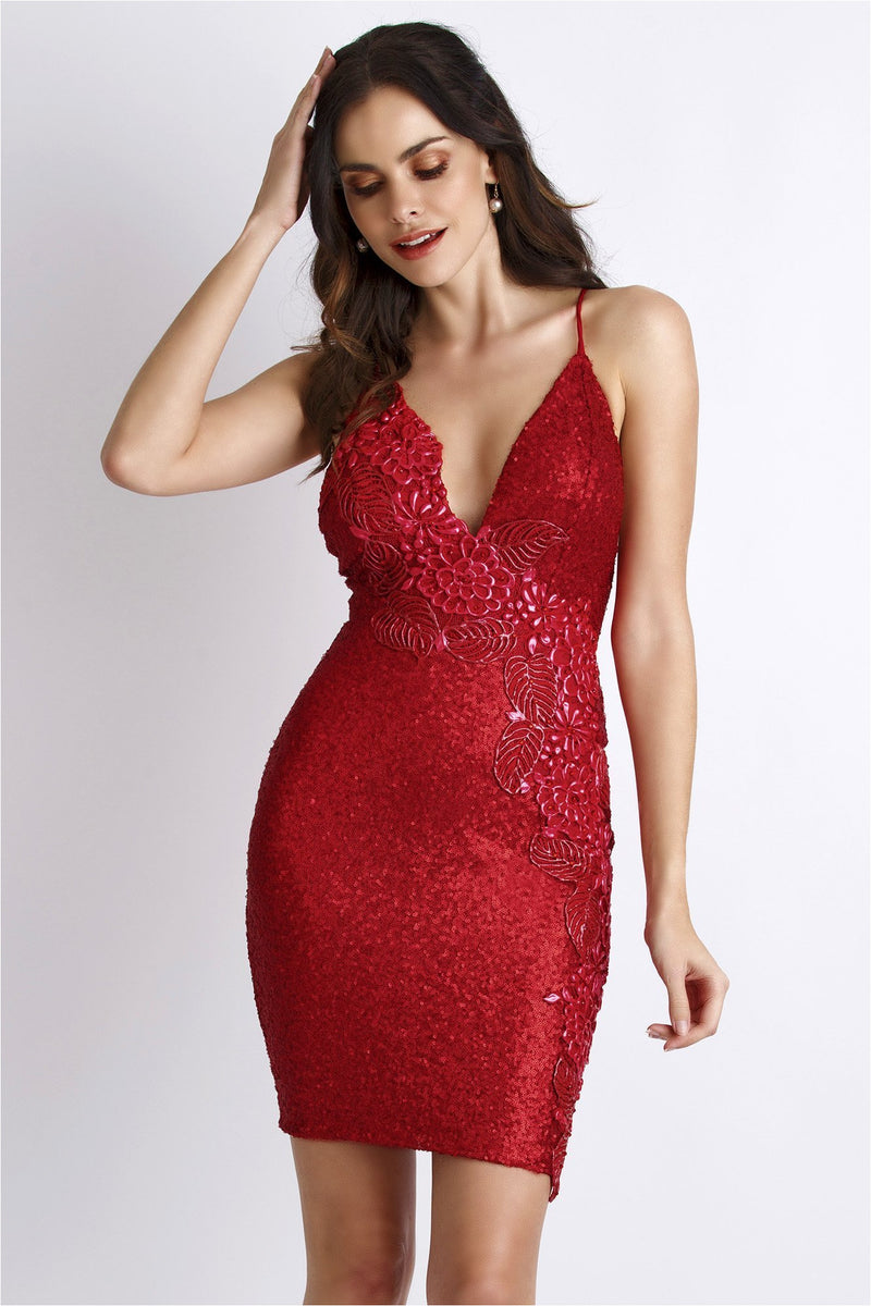 Alison Red Sequins Spaghetti Strap Short Dress