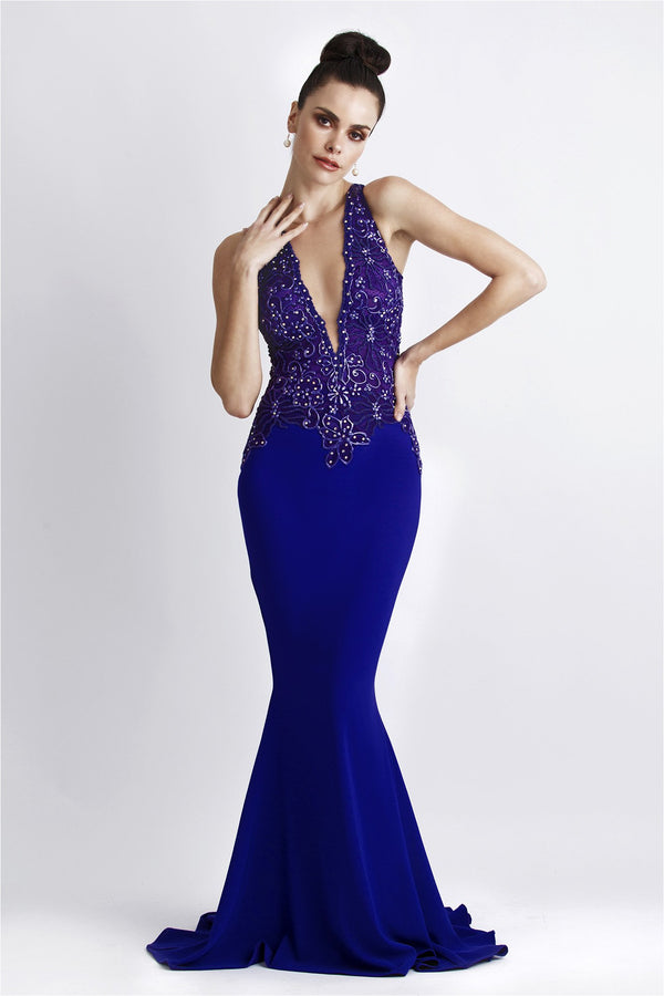 Alitze Purple Handpainted Plunging Gown