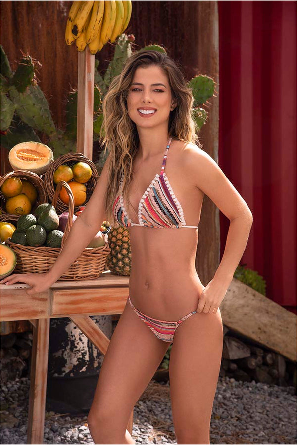 Lau de La Swimwear Pink Striped Bikini Set