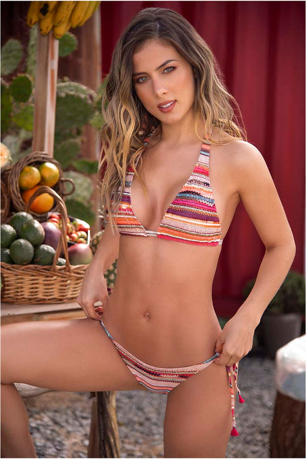 Lau de La Swimwear Pink Stripes Bikini Set