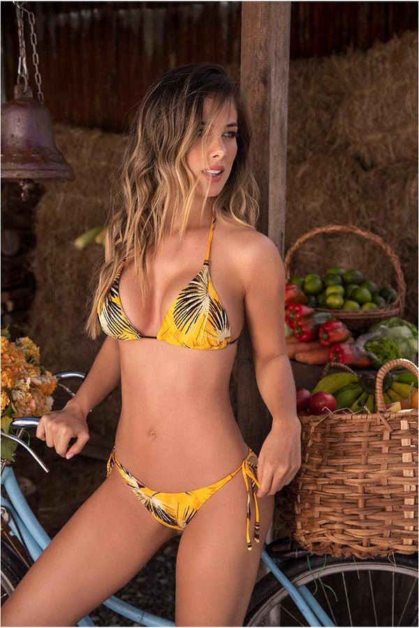Lau de La Swimwear Yellow Palms Bikini Set