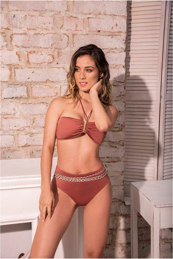 Lau de La Swimwear Bandeau High Waist Bikini Set