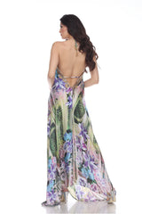 Lilac Multicolor Embellished Maxi Dress