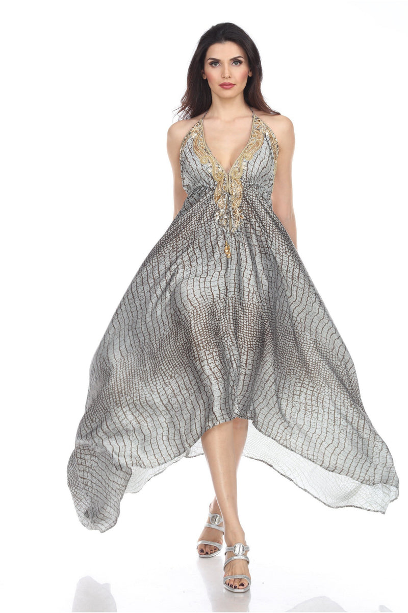 Grey Silver Pattern  Embellished Maxi Dress