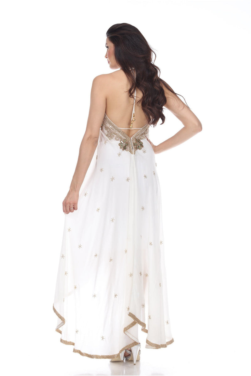 White Fully Embellished Maxi Dress