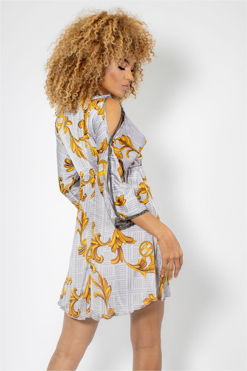 Split Shoulder Silk Mini Dress