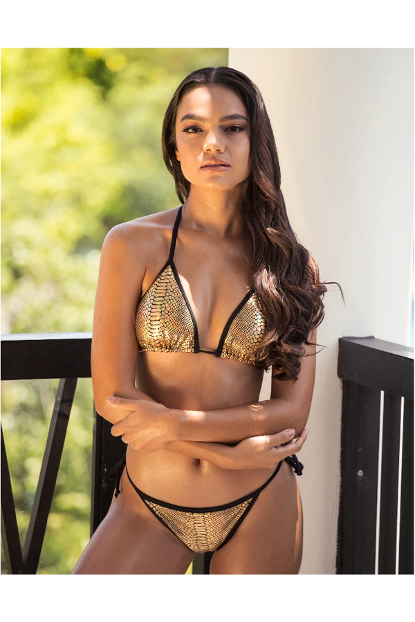 Linda Gold Metallic Bikini Set