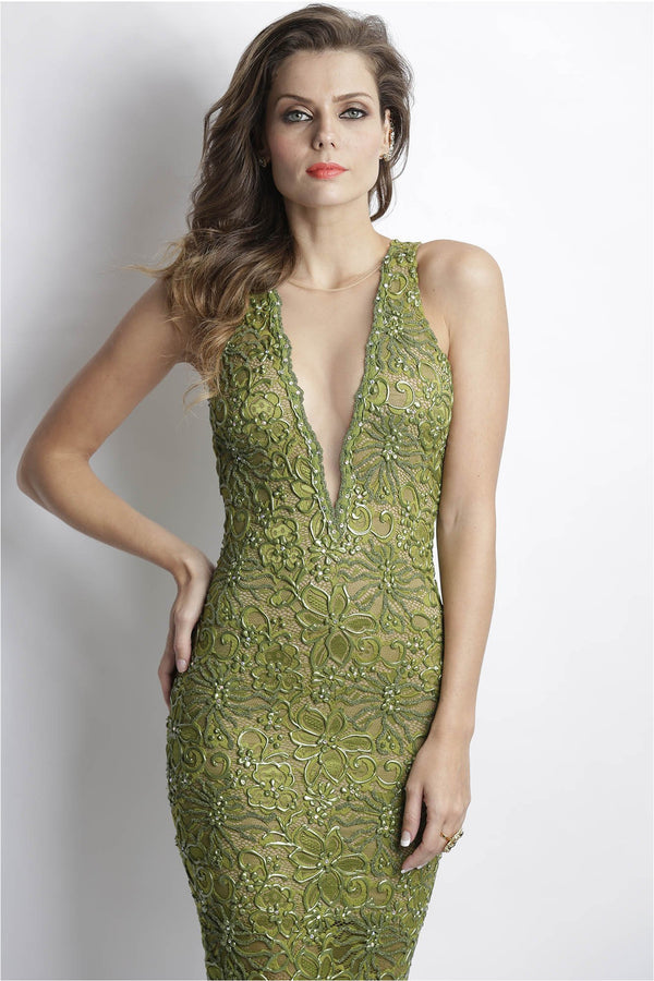 Alitze Green Handpainted Plunging Dress