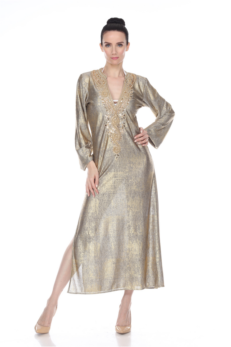 Gold Full Sleeve Maxi Dress