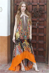 Orange Feathers Maxi Dress