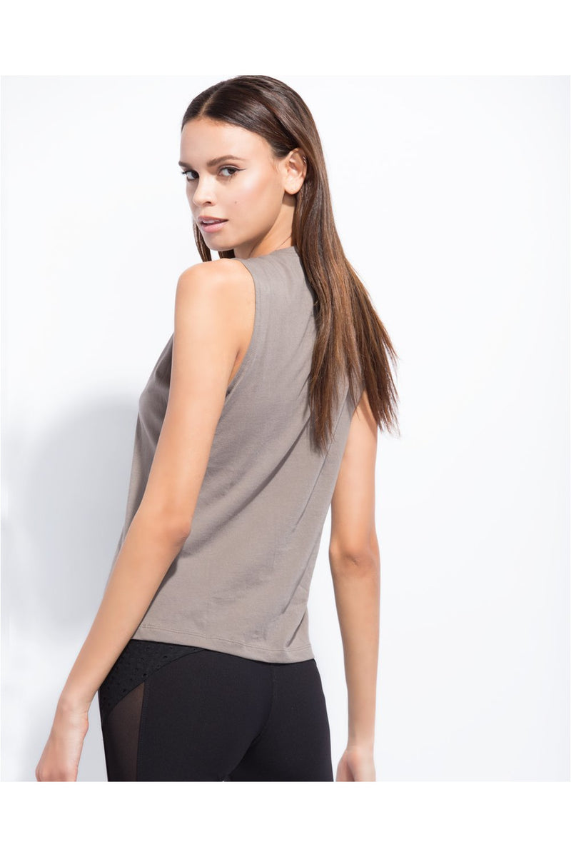 Wavy Taupe Muscle Tank Top