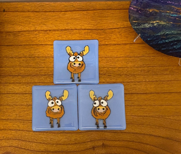 Marty the Moose- Fused Glass Coaster