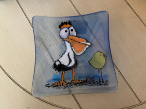 Pelican Pete - Fused Glass Plate