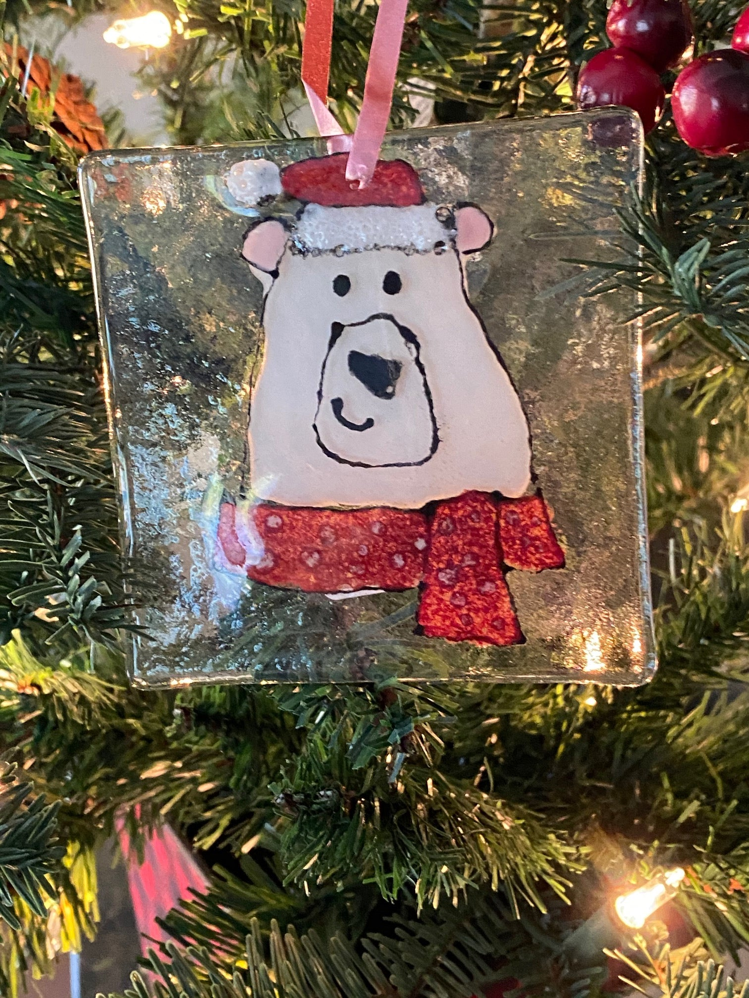 Polar Bear - Hand Painted Glass Ornament
