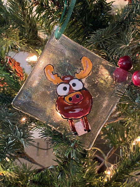 Marty the Moose - Hand Painted Fused Glass Ornament