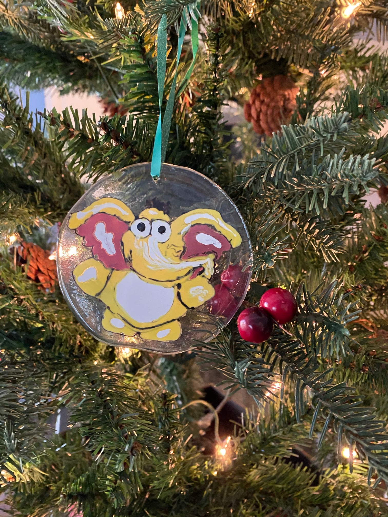 Ellie the Elephant - Hand Painted Fused Glass Ornament
