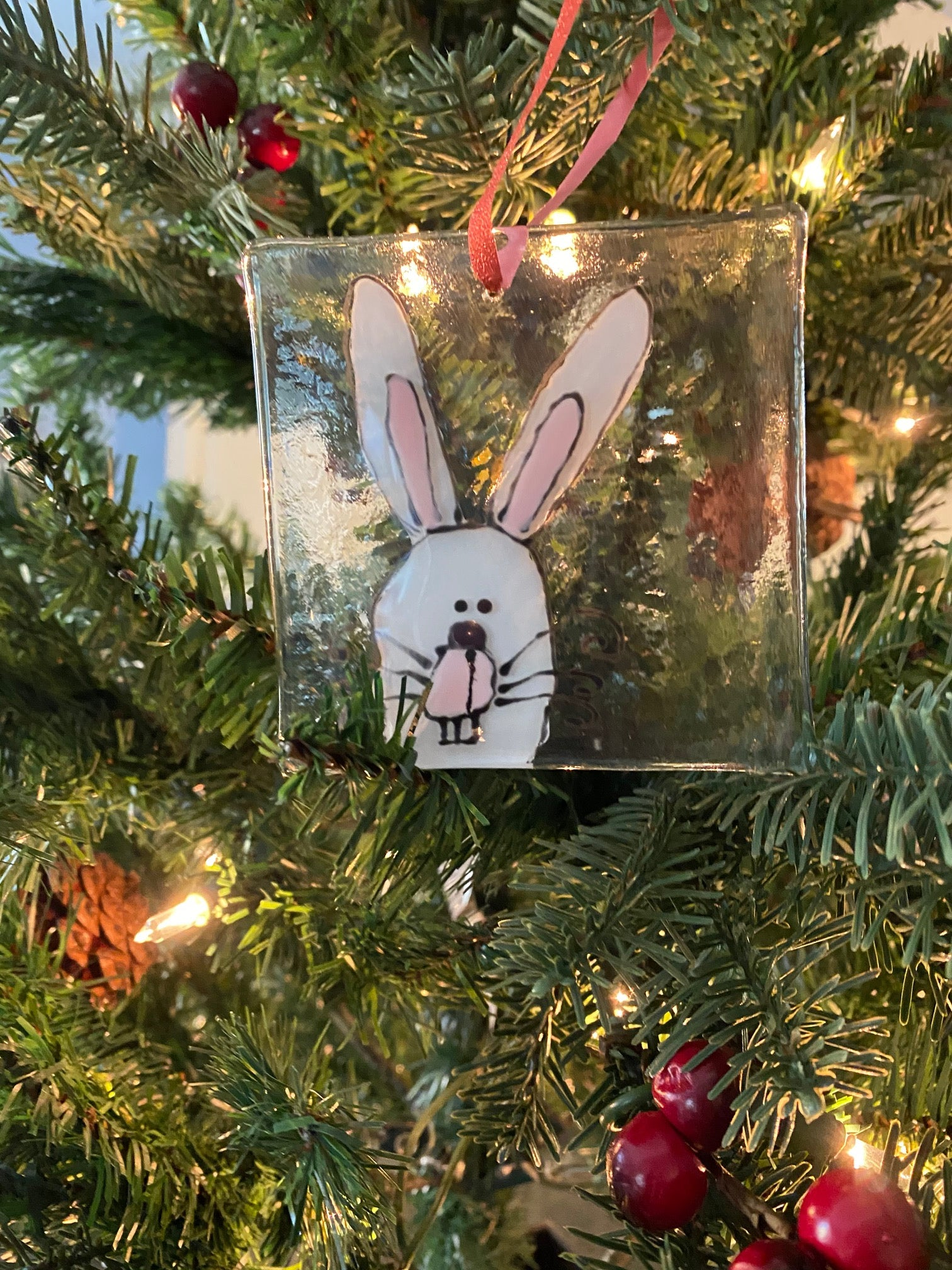 Boojangles the Bunny - Hand Painted Glass Ornament