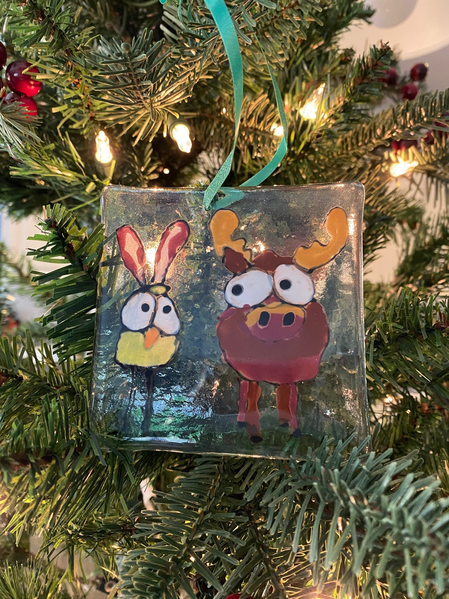 Marty the Moose and Peanut the Bird - Hand Painted Ornament