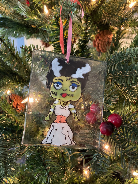 Bride of Frankenstein - Hand Painted Glass Ornament