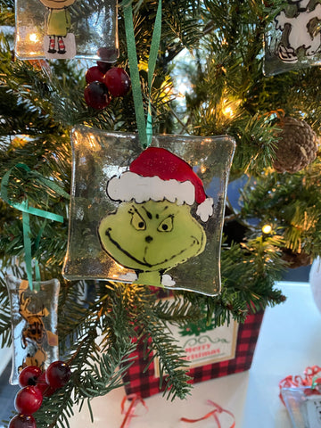 Grinch Hand Painted Glass Ornament