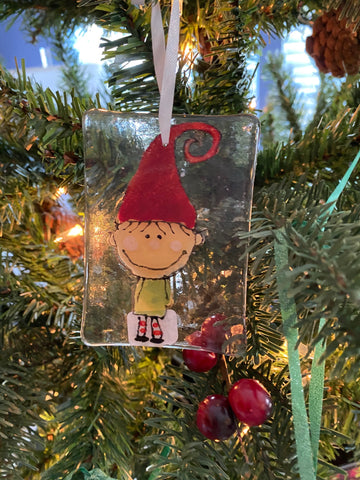 Elf Hand Painted Glass Ornament