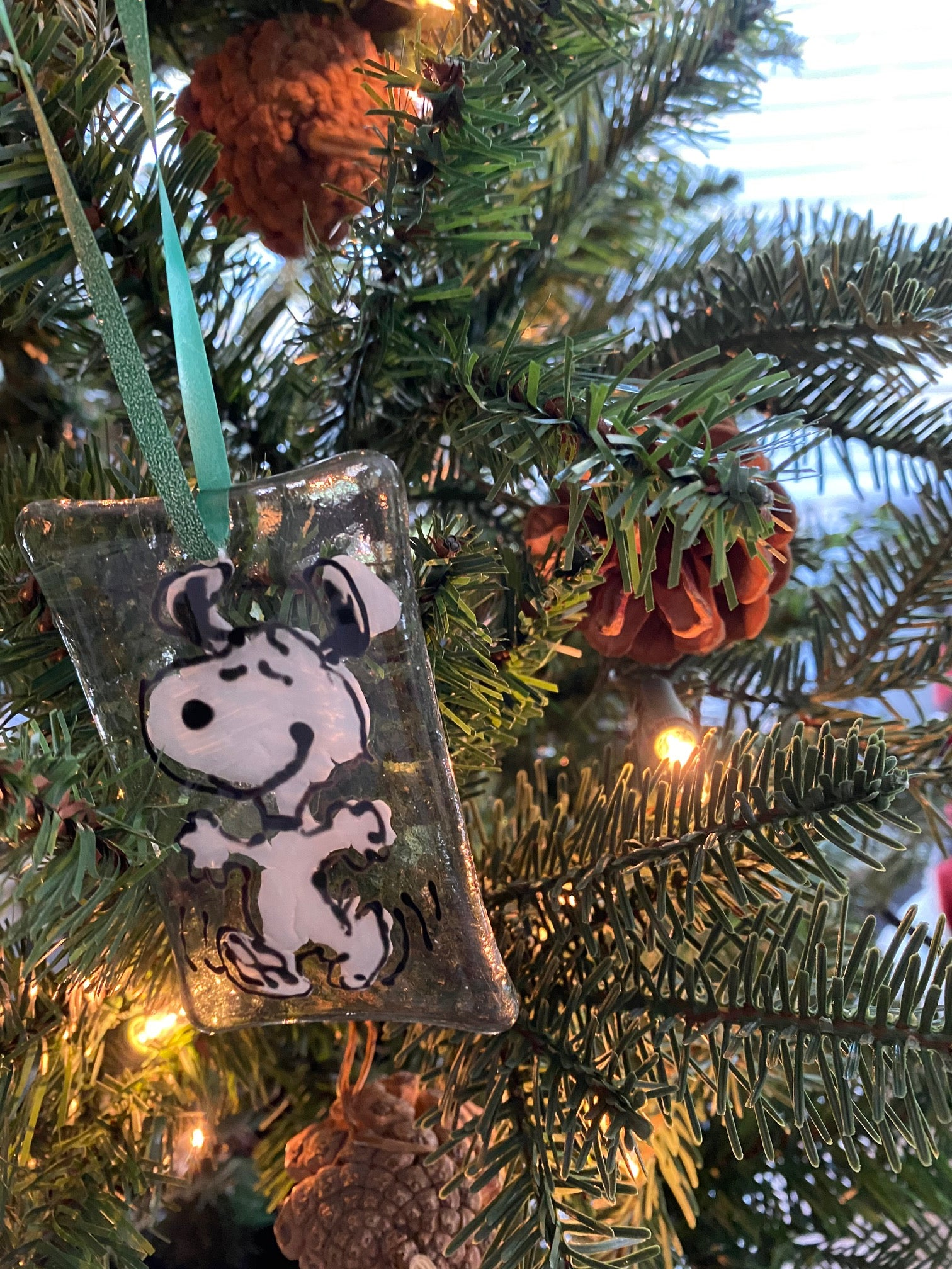 Snoopy Hand Painted Glass Ornament