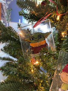 Baby Yoda Hand Painted Glass Ornament