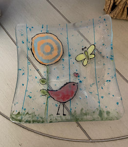 Bella and the Butterfly -  Fused Glass Plate