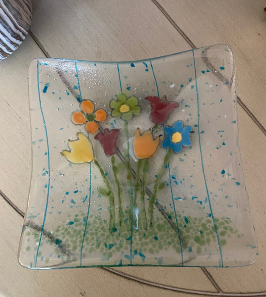 Flower Power -  Fused Glass Plate