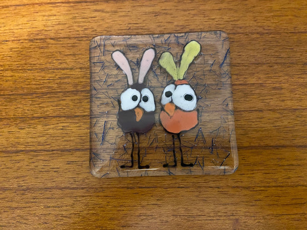 Bunny Bird -  Fused Glass Coaster
