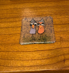 Paper Hat Birds - Fused Glass Coaster