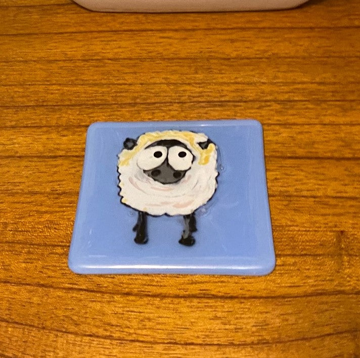 Sylvester the Sheep - Fused Glass Coaster